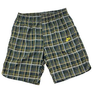 Nike Plaid Athletic Shorts Yellow/Black Large Mens